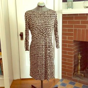 Fall three quarter sleeve faux wrap dress